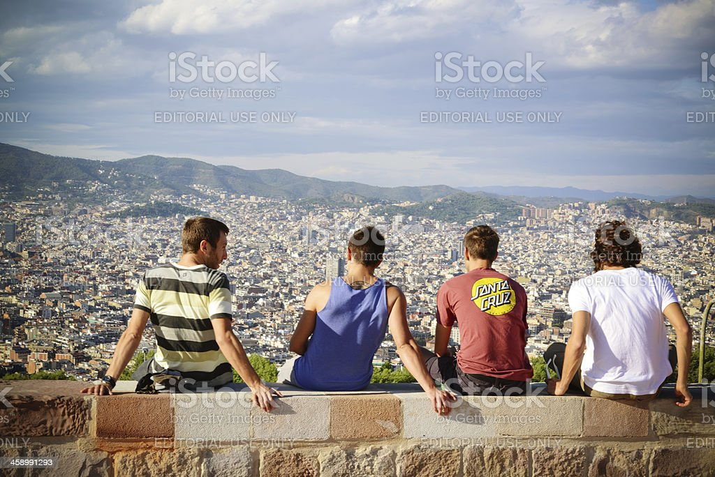 Group of young men enjoying Barcelona View, Spain royalty-free stock photo