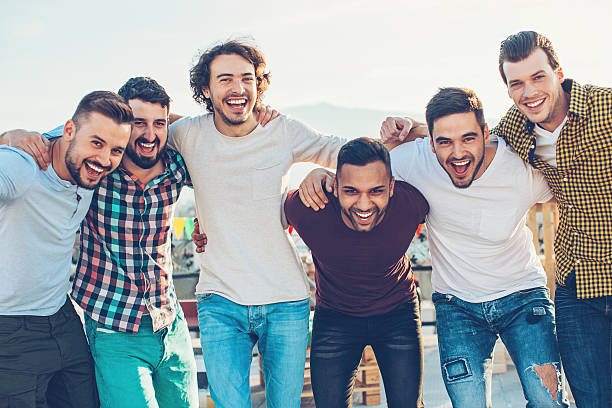 Group of young men stock photo