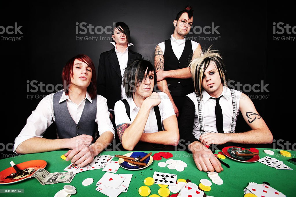 Group Of Young Men Playing Poker royalty-free stock photo