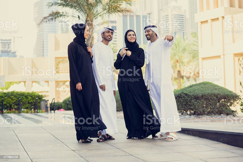 Group of young modern arabs in Dubai, United Arab Emirates stock photo