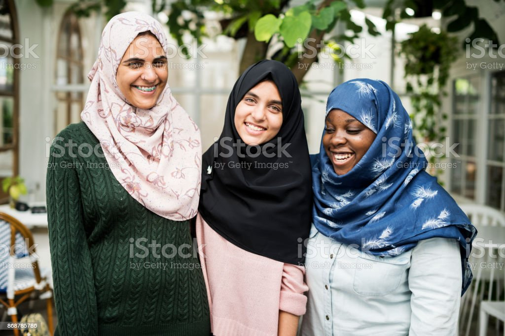 A group of young Muslim women stock photo