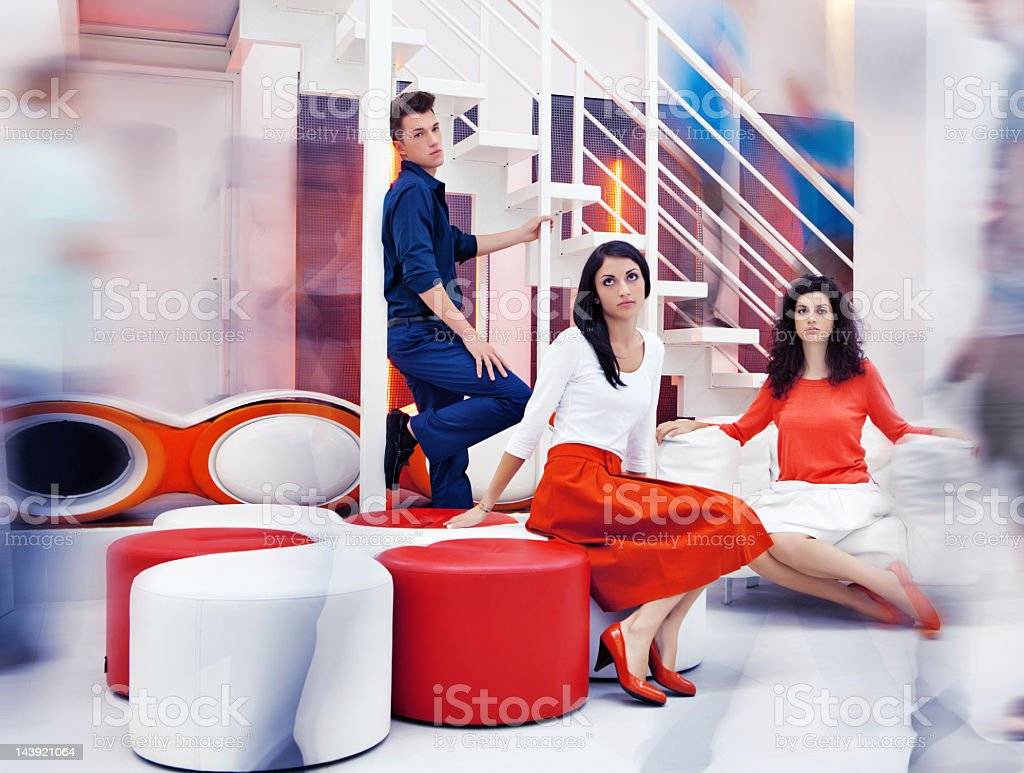 Group of young people are bored on party royalty-free stock photo