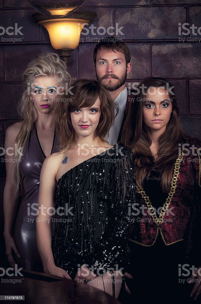 Group of young people at the costume party - IV royalty-free stock photo