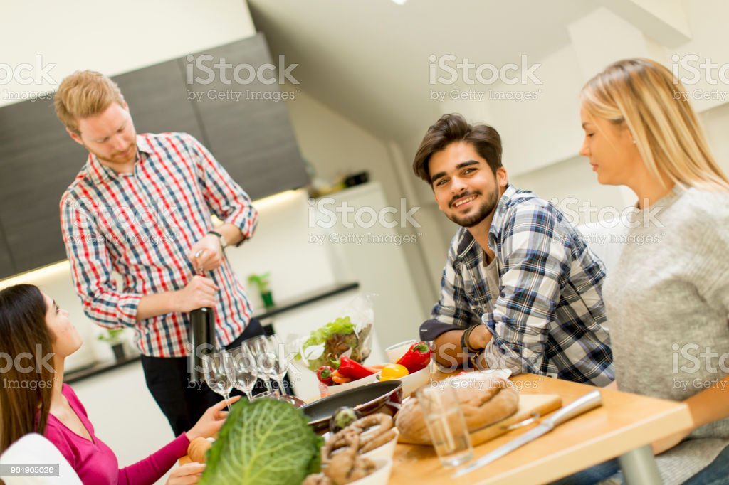 Group of young people drinking wine in the room royalty-free stock photo