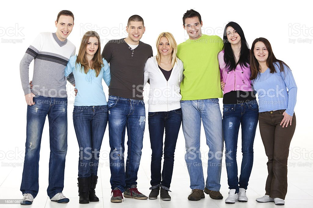 Group of young people embracing royalty-free stock photo