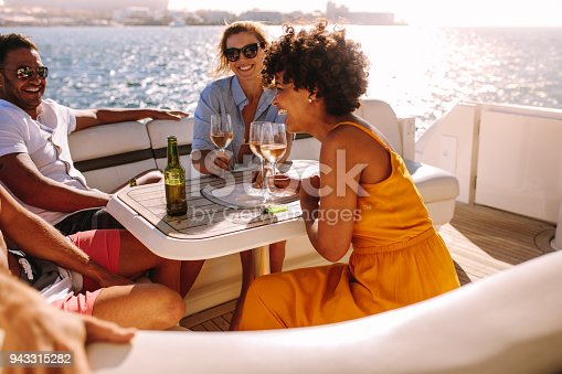 Group of young people having a boat party. Friends sitting at the back of a yacht and partying.