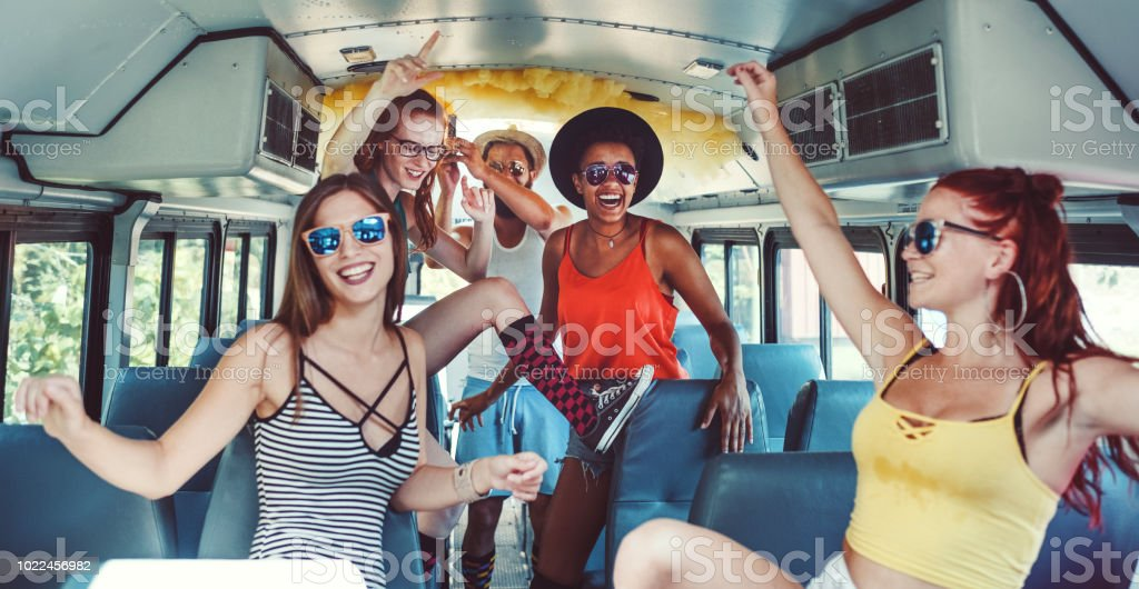 Group Of Young People Having Fun Party Bus Stock Photo ...