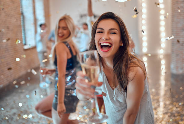 Group of young people having party stock photo