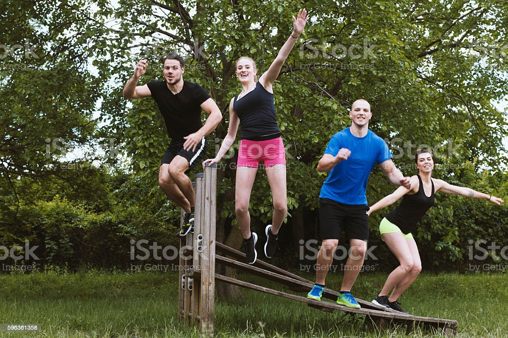 Group of Young people in a Action Portrait royalty-free stock photo