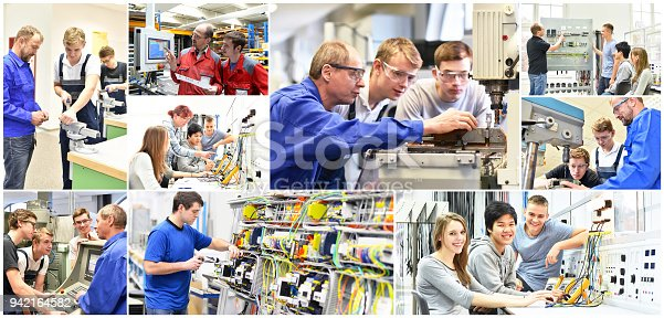 istock Group of young people in technical vocational training with teacher - collage with various pictures 942164582