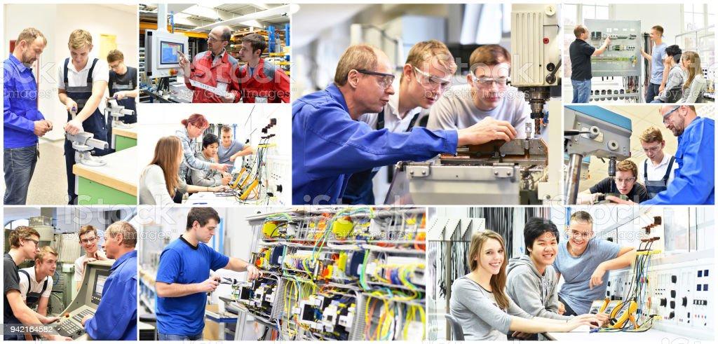 Gruppe von Jugendlichen in der technischen Berufsausbildung mit Lehrer - Collage mit verschiedenen Bildern – Foto