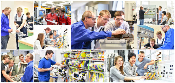 group of young people in technical vocational training with teacher - collage with various pictures - vocational training stock photos and pictures