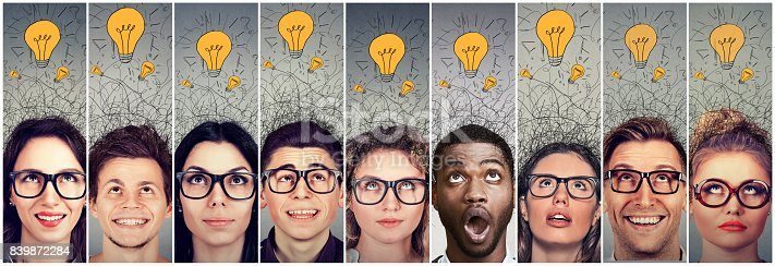 istock Group of young people men and women with many ideas light bulbs above head looking up. 839872284