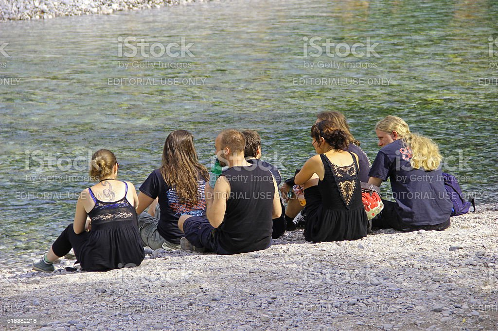 Group of young people on Metal Festival relaxing. stock photo