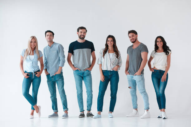 Group of young people on white background stock photo