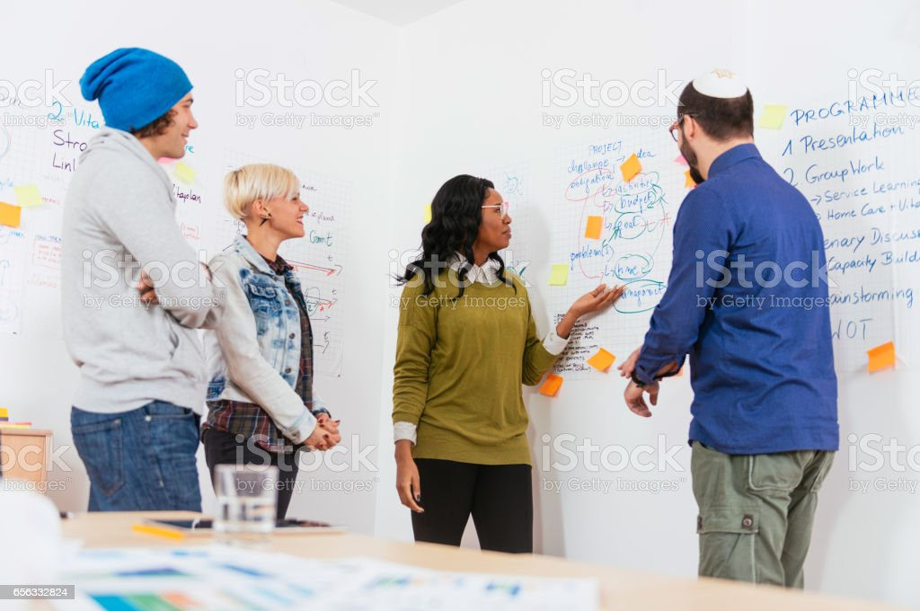 Group of young people, professionals and trainees, developing start-up concpets in office stock photo