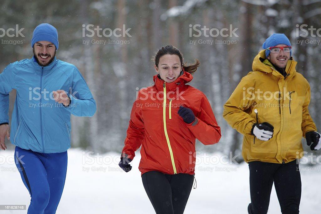 Gruppe von jungen Menschen Laufen im winter – Foto