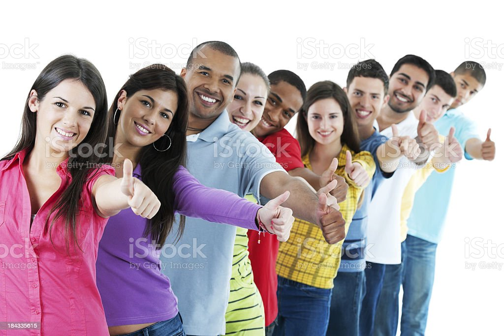 Group of young people showing okay. royalty-free stock photo