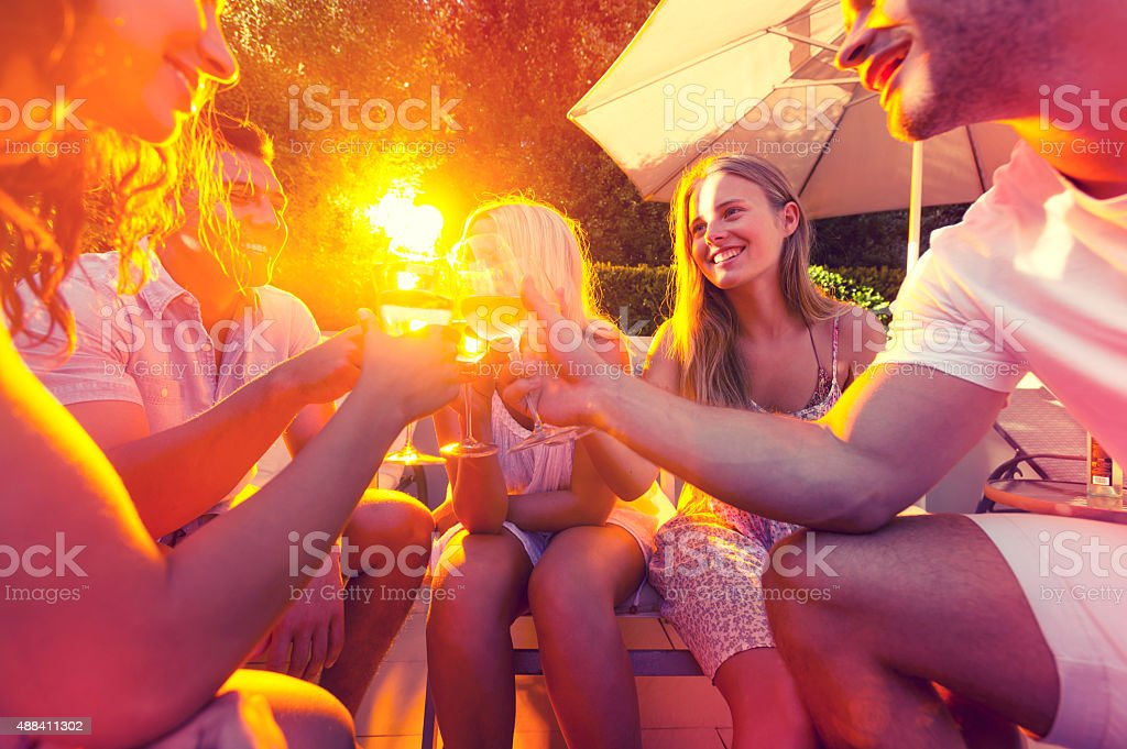 Gruppe von jungen Menschen Anstoßen mit Wein Gläser. – Foto