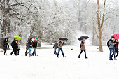 Group of young people with umbrellas walking on snowy path