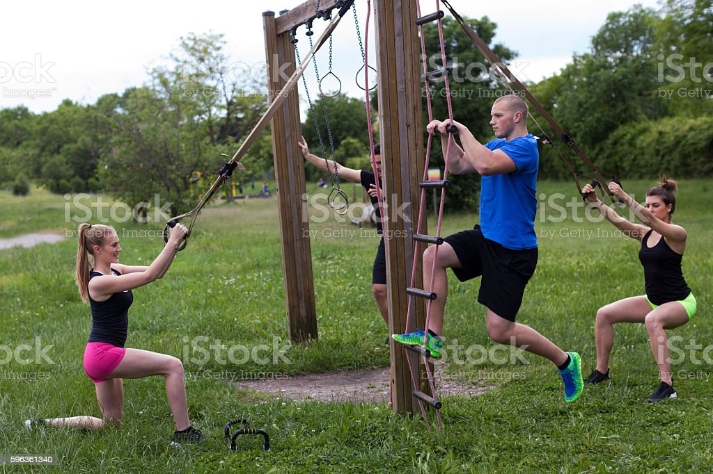 Group of Young People Workout Outdoors royalty-free stock photo