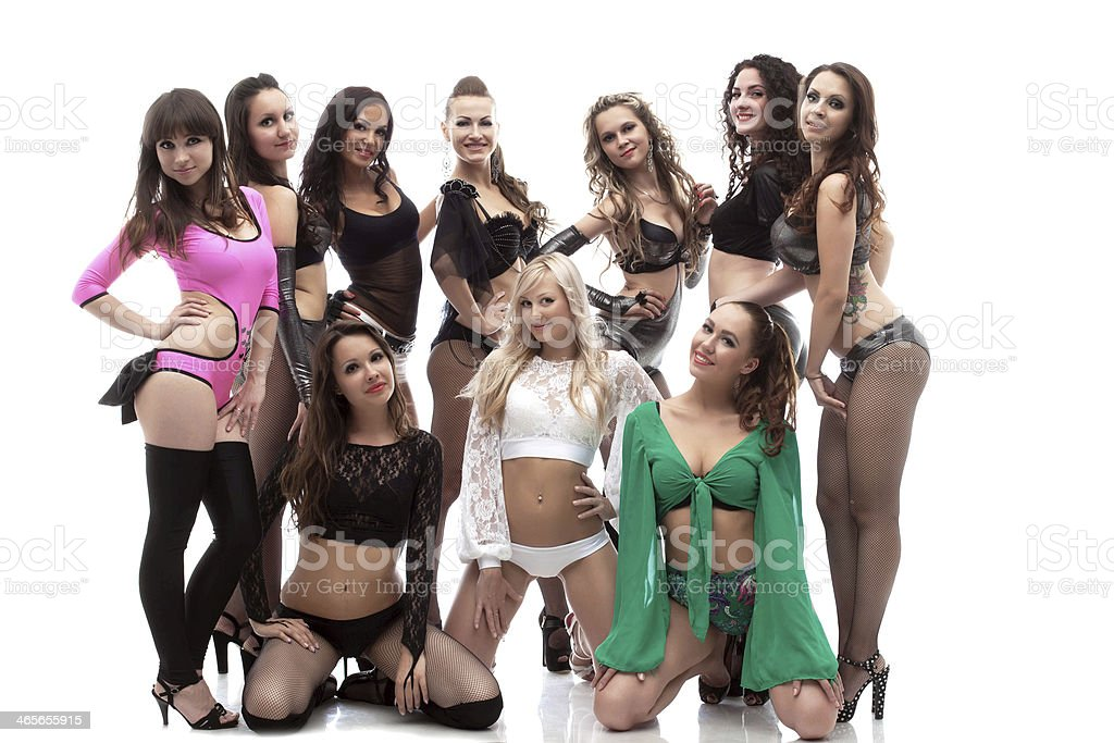Group Of Young Sexual Dancers In Erotic Costumes Stock Photo ...