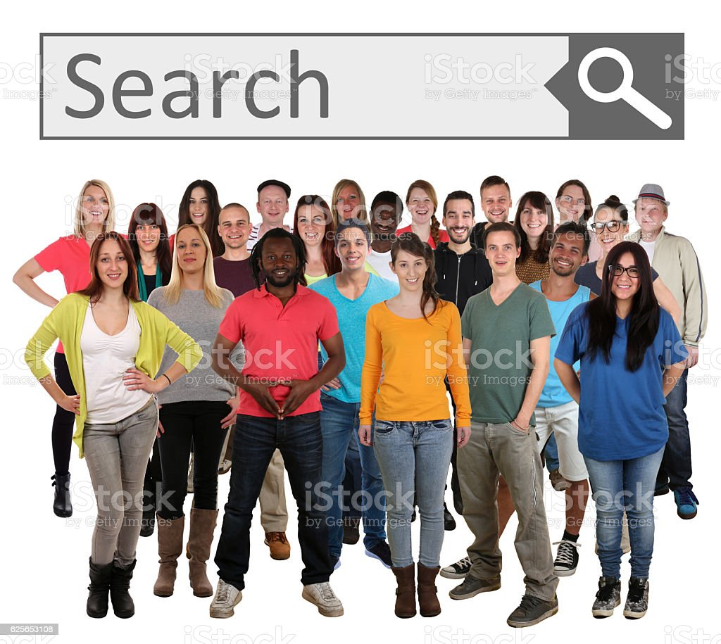 Group of young smiling people searching search engine internet stock photo