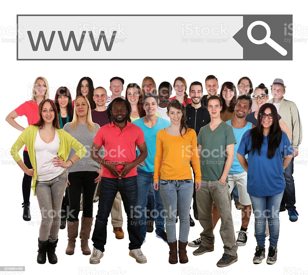Group of young smiling people searching website online on internet stock photo
