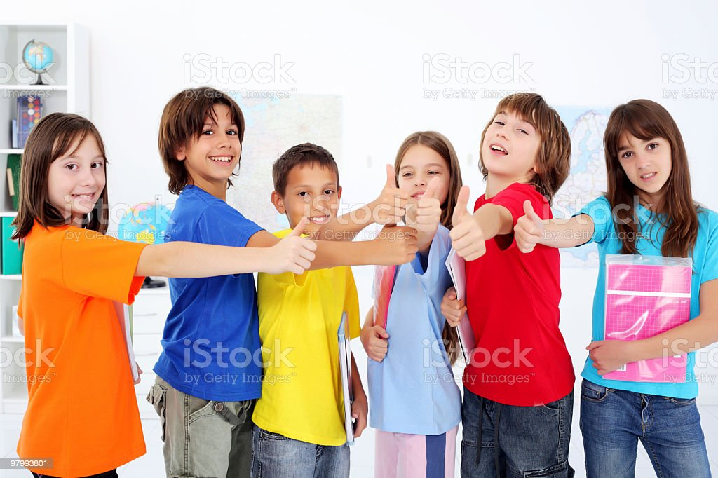 Group of young smiling schoolchildren. royalty free stockfoto