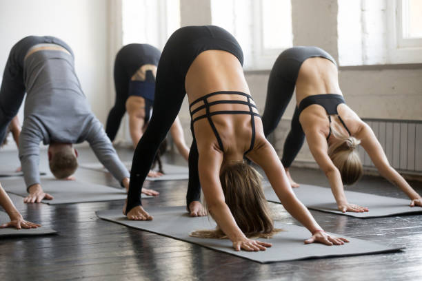 Group of young sporty people in Downward facing dog pose stock photo
