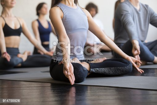 istock Group of young sporty people in Padmasana pose, close up 914755526