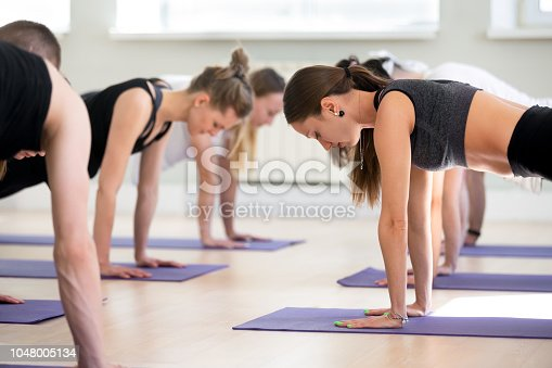 914755448istockphoto Group of young sporty people practicing yoga lesson, Plank pose 1048005134