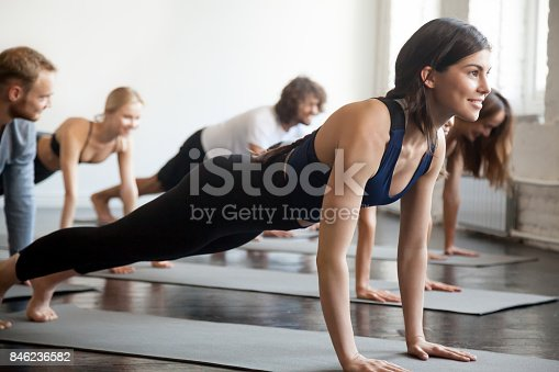 914755448istockphoto Group of young sporty smiling people in Plank pose 846236582