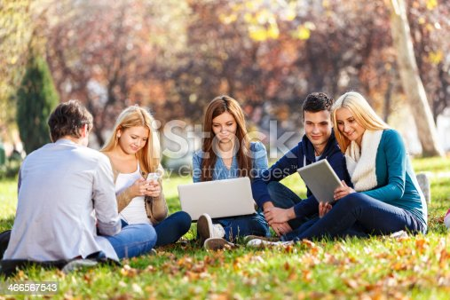 1043434558 istock photo Group Of Young Students With Laptop, Digital Tablet And Smartpho 466567543