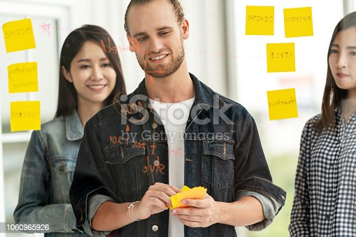 istock Group of young successful creative multiethnic team smile and brainstorm on project at office with yellow post note or sticky note. Caucasian man looking at glass wall concentrate on sharing idea. 1060965926