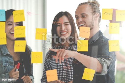 istock Group of young successful creative multiethnic team smile and brainstorm on project together in modern office with post note or sticky note. Caucasian man point on glass wall sharing idea. 996496574
