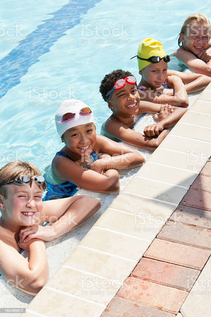 Group of young swimmers stock photo
