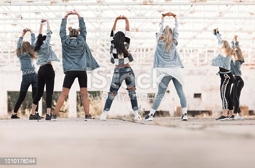 Group of young woman dancing modern hip hop/dance choreography outdoors