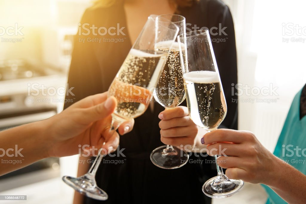 Group of young women cheering with champagne, celebrating merry christmas at home stock photo