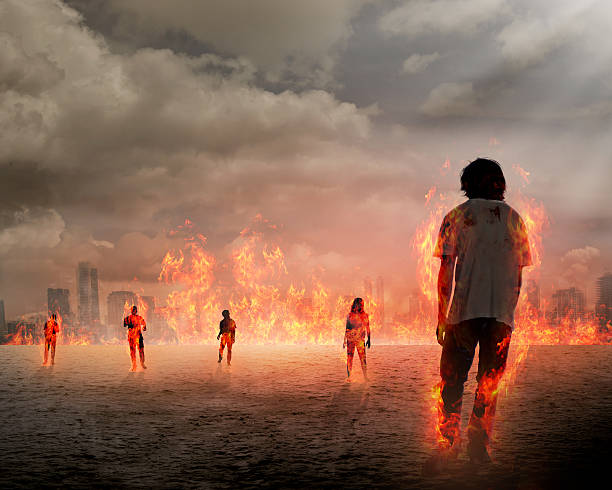 group of zombie get burn - zombie apocalypse stock photos and pictures