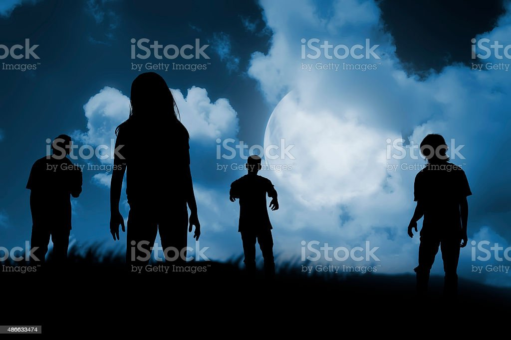 Group of zombie walking at night stock photo