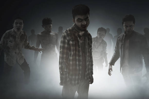 group of zombies - zombie apocalypse stock photos and pictures