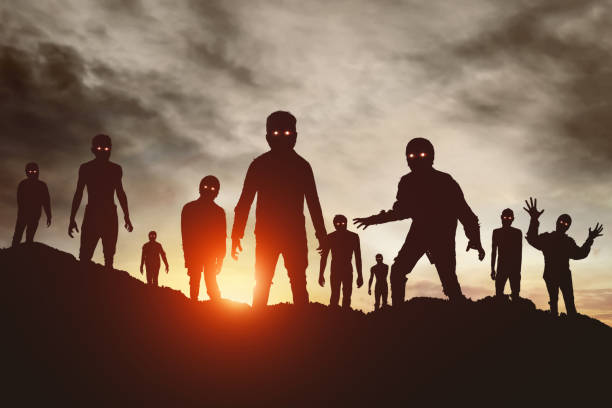 group of zombies silhouette - zombie apocalypse stock photos and pictures