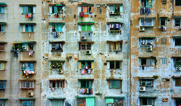 group old window,Ho Chi Minh apartment building stock photo