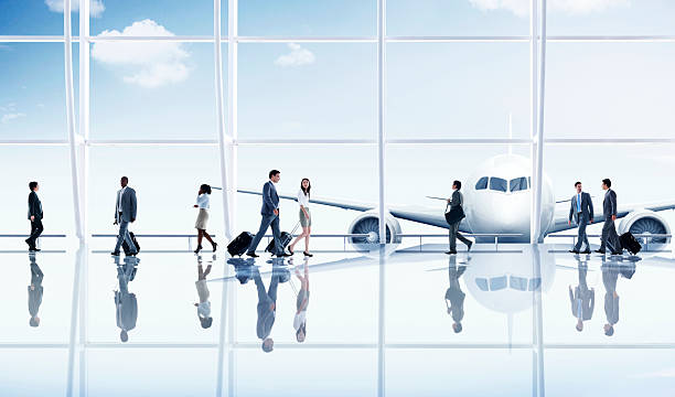 group people airport business travel communication concept - airport terminal stock photos and pictures