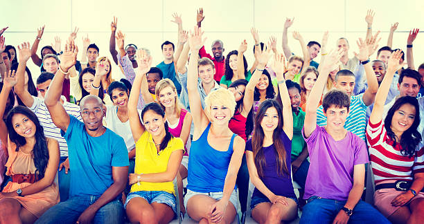 Group People Crowd Cooperation Suggestion Casual Concept stock photo