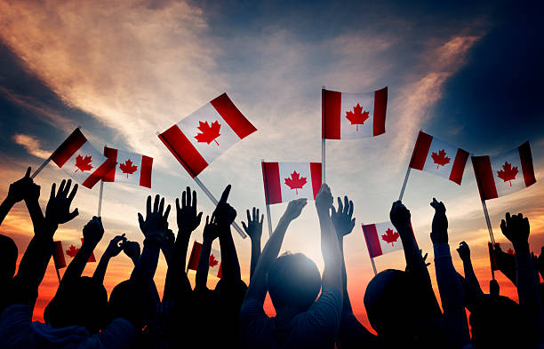 group people waving canadian flags back lit - canada stock photos and pictures
