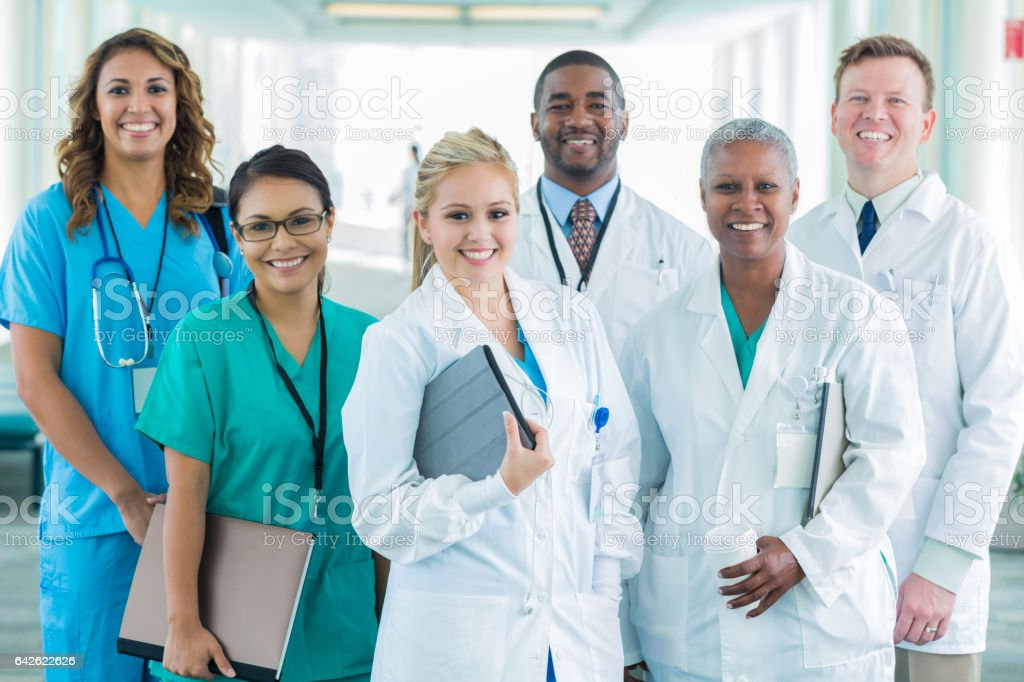 Group photo of diverse medical professionals stock photo