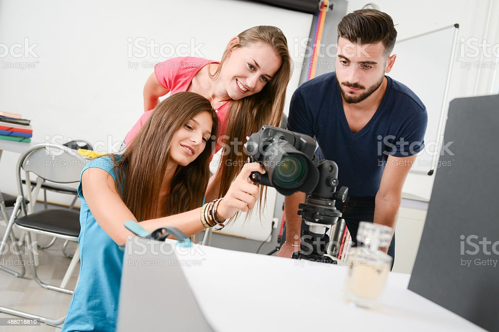 group photographer student on photography shooting workshop in photo studio stock photo