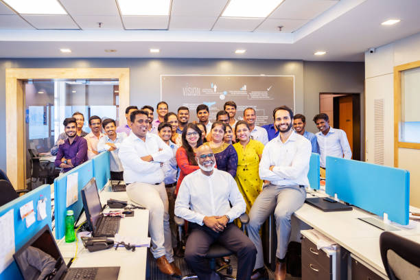 Group Portrait from a Corporate Office in India stock photo